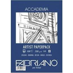 Fabriano Carta Artist Paperpack Accademia 297 x 42 cm grammi 200 grana naturale 50 fogli BIANCO