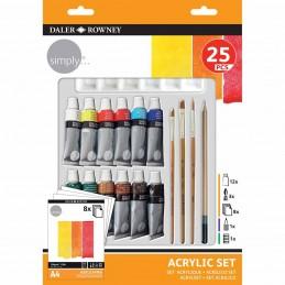 Daler Rowney Simply Set per Acrilico 25 pezzi
