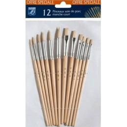 L&B conf. 12 pennelli setole naturali manico medio-lungo