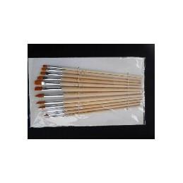 L&B conf. 12 pennelli setole sintetiche manico medio-lungo