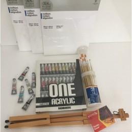 Kit colori acrilici ONE Maimeri con cavalletto da tavolo pieghevole