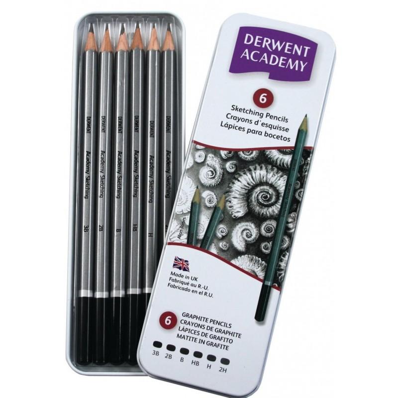 Derwent Academy Sketching set 6 matite disegno con astuccio in metallo